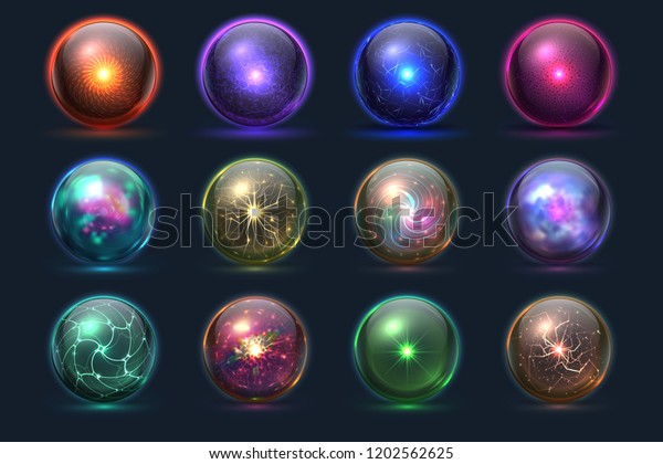 Magic balls. Energy mysterious orbs, magical crystal glass prediction paranormal sphere. Vector set of color sphere crystal, glass magic ball illustration