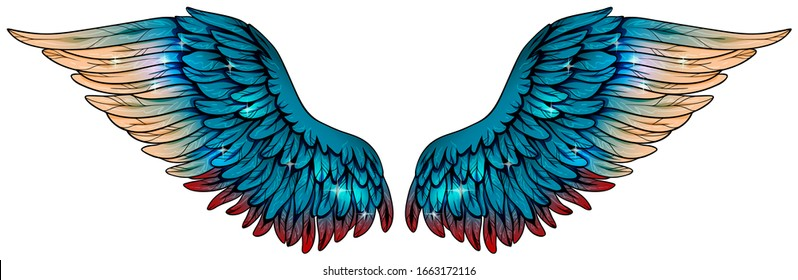 Magic beautiful glowing turquoise wings with beige and red feathers, vector
