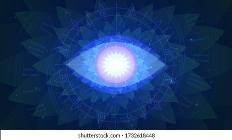 Magic blue all-seeing eye on a background of fractal and stars