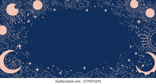 Magic blue background with moon and sun, crescent moon, place for text. Astrological banner with stars, cosmic pattern. Doodle vector illustration