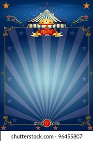 Magic blue circus poster. A circus blue poster for your show