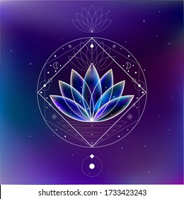 Magic blue cosmic lotus inside the sacred geometry figures frame on the galaxy background