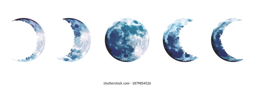 Moon Phases Invitation Clipart Blue Moon Forest Clipart Galaxy Night Sky Clipart Watercolor Indigo Moon Clipart Pine Tree Clipart