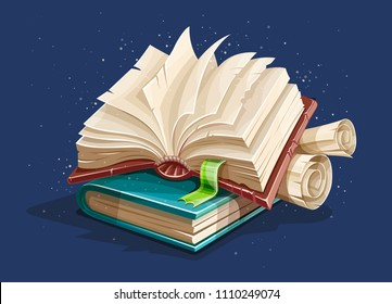 Magic book from fairy tale with spreading pages. Book spreadsheet and vintage paper manuscripts with torn page. EPS10 vector illustration.