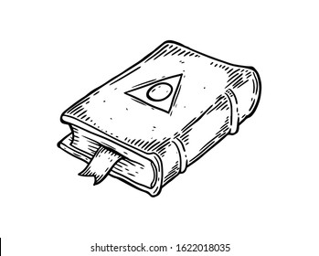Magic book with occult magic symbol. Magic book with triangle symbol. Grimoire sketch illustration for print, web, mobile and infographics isolated on white background.