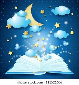 The magic book, vector illustration