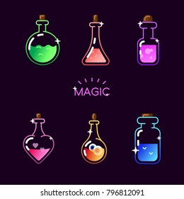 Magic bottle icon set. Vector magic colorful elixir potion bottles for web, mobile app, logo, infographics, game interface, GUI asset