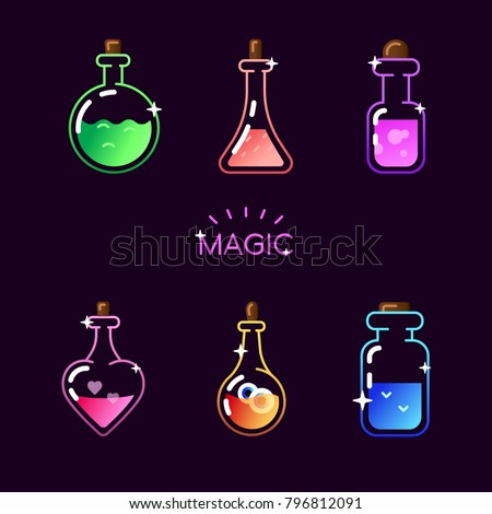 magic bottle icon set vector magic stock vector royalty free
