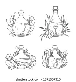 Magic Bottles collection - Coloring book page. Vector illustration
