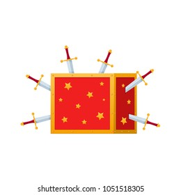 Magic box, trunk for magic tricks, magic show. Show with knives, piercing the box with swords, tricks with disappearance. Item for game user interface, web games. Vector illustration isolated.