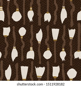 Magic broom cupboard vector pattern. Collection of magic brooms stacked up in a cupboard in earthy colour palette.