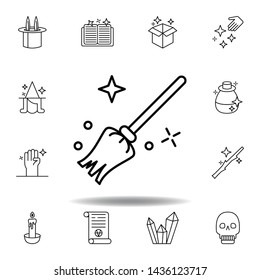 magic broom, miscellaneous outline icon. elements of magic illustration line icon. signs, symbols can be used for web, logo, mobile app, UI, UX