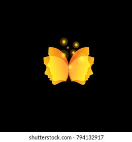 Magic butterfly wings from facial masks, abstract orange face vector logo template.