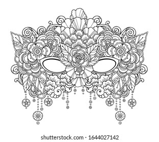 Magic carnival composition in doodle style. Floral, ornate, tribal, festival,  decor design elements. Black and white background. Flowers, mask, beads. Coloring book page - Vector template