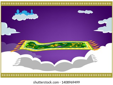 Magic carpet floats in the air with palace in the sky in the background. Editable Clip Art.