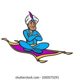 Magic Carpet Ride - A vector cartoon illustration of a man riding a Magic Carpet.