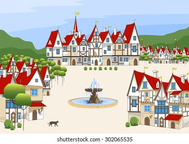 Magic cartoon medieval houses. Town in the mountains