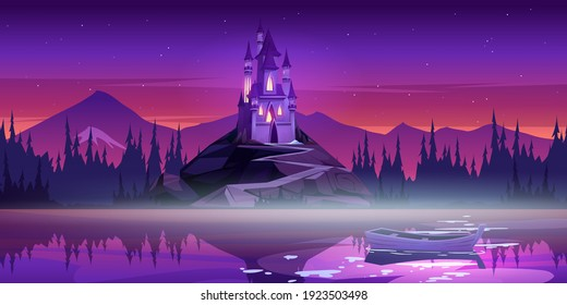 Magic castle on mountain top near river pier with boat on water surface at sunset dusk. Fairytale palace under pink or purple sky with stars. Fantasy medieval architecture, Cartoon vector illustration
