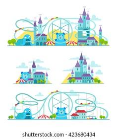 Magic castle roller coaster. Amusement park.