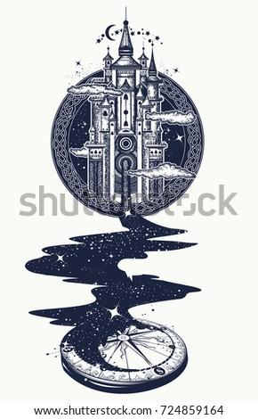 44ad5e4e008c2 Magic castle tattoo art, river of stars, psychology symbol, tourism, travel.