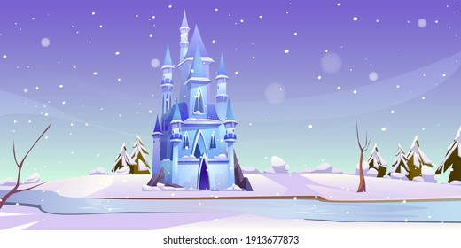 Magic castle at winter day on frozen river bank. Fairytale palace at beautiful nature landscape with falling snow and fir trees. Fantasy fortress, medieval architecture. Cartoon vector illustration