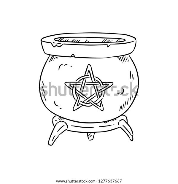 Magic Cauldron Pentagram Doodle Sketch Hand Stock Vector (Royalty