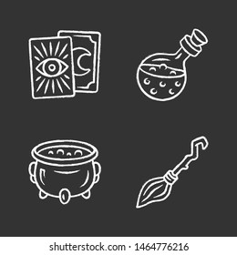 Magic chalk icons set. Tarot cards, potion, witch cauldron and broomstick. Witchcraft and sorcery Halloween items. Isolated vector chalkboard illustrations