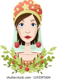 Magic character. Portrait. Fairy forest berries. Vector.
