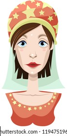 Magic character. Portrait. Princess in turban. Vector.