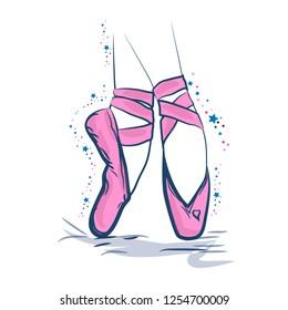 6c9d3f4e0f31b The magic and charm of the ballet. Hand drawn ballet dancer legs in pointe  shoe