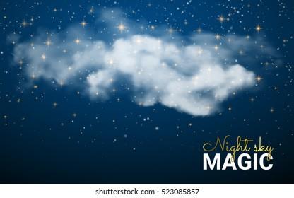 Magic Christmas Cloud. Shining Stars. Night sky abstract background. Vector illustration Christmas. Fairy Dust.