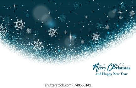 Magic Christmas greeting card. Background with snowflakes, glitter and stars. Vector illustration.