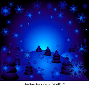 the magic christmas night illustration