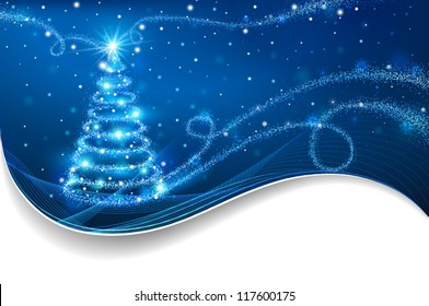 The Magic Christmas Tree. Christmas background