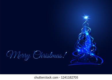 Magic christmas tree, blue xmas fir with glow ribbons, balls and snowflakes. Vector illustration