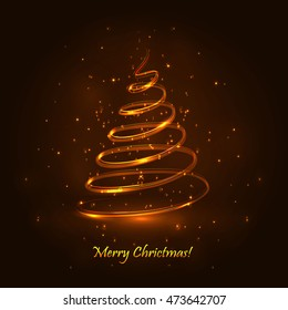 Magic Christmas Tree. Gold Background. Christmas Card