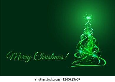 Magic christmas tree, green xmas fir with glow ribbons, balls and snowflakes. Vector illustration