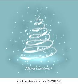 Magic Christmas Tree. Light Blue Background. Christmas Card