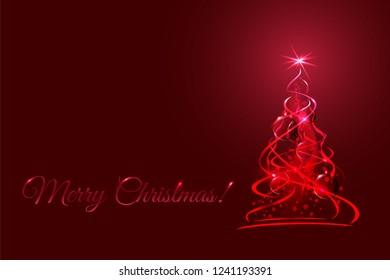 Magic christmas tree, red xmas fir with glow ribbons, balls and snowflakes. Vector illustration