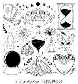 Magic clip art vector Illustration. Mystical Illustration template for stickers.