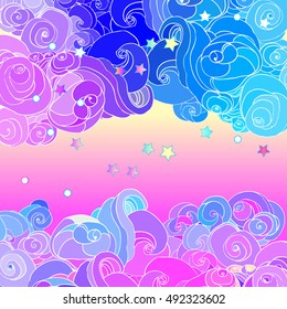 Magic clouds.  Psychedelic hallucination. Vibrant  vector illustration. 60s hippie colorful art.