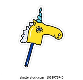 Magic colorful bright unicorn sticker vector illustration. Horse on a stick Trend hand drawing picture. Pop art fashion chic patch, pin, badge