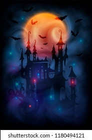 Magic colors giant full moon, witch castle dark silhouette, bats and mystic lights in fog. Halloween poster vector background