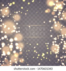 Magic concept. Abstract defocused circular golden luxury gold glitter bokeh lights background. Graphic resources design template. Vector illustration.