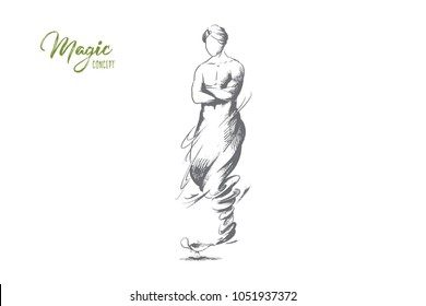 Magic concept. Hand drawn cartoon Genie coming out of magic lamp. Genie Aladdin from famous fairytale isolated vector illustration.