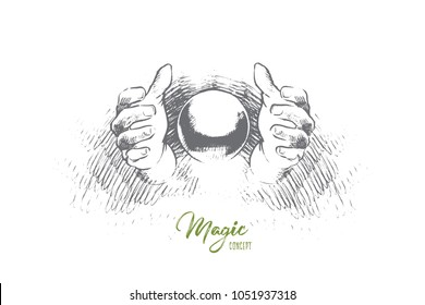 Magic concept. Hand drawn magic trick with hands and ball. Hands of illusionist doing miracle isolated vector illustration.