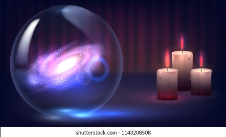 Magic crystal ball of divination and candles. Psychic, fortune telling