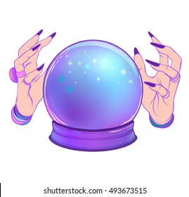Magic Crystal Ball with female hands isolated on white. Creepy cute vector illustration. Gothic design, mystic magician symbol, pastel colors. Future telling, Halloween concept.