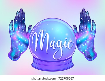 Magic Crystal Ball and female open hands with galaxy inside. Creepy cute vector illustration. Gothic design, mystic magician symbol, pastel colors. Future telling, Halloween concept.