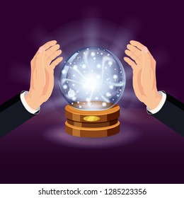 Magic crystal ball fortune, open hands, mistery, shining, magic, predictions, sphere, light effects, glow, vector, illustration, isolated, cartoon style